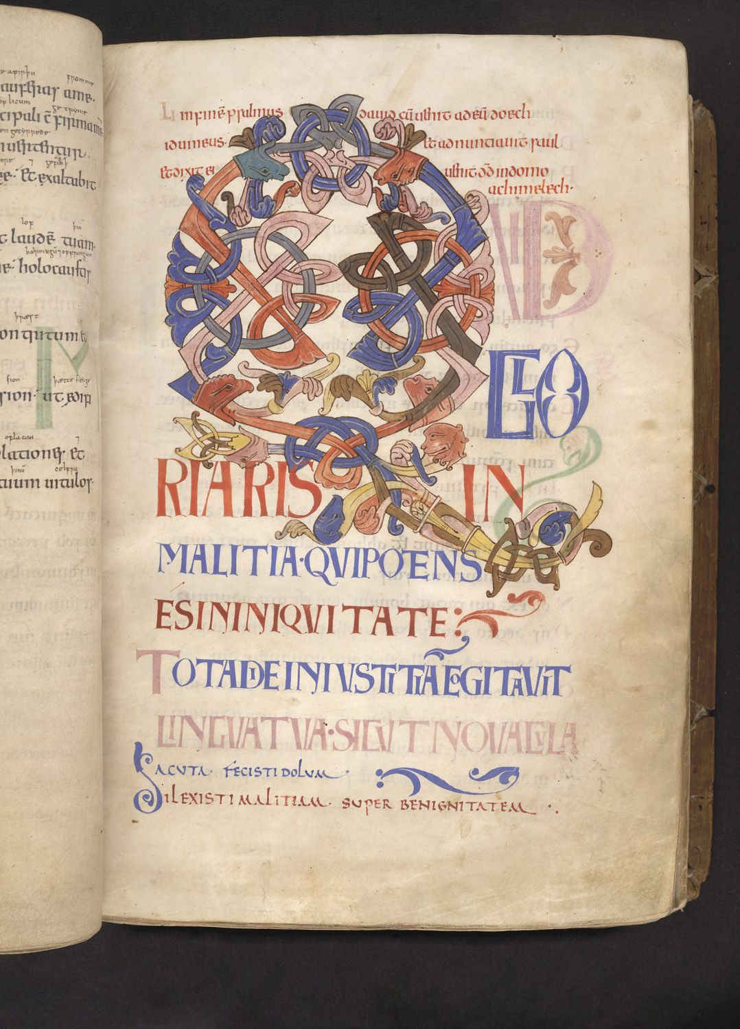 Decorated initial- Decorated initial 'Q'(uid) at the beginning of Psalm 5, composed of pairs of shafts in angular and interlace patterns with animal-head terminals. The text is in large angular coloured display capitals.  Origin:England, S. E. (Canterbury?)