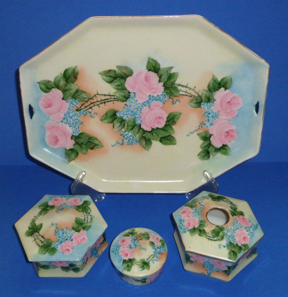 Antique porcelain powder jar tray dresser set vanity hand painted