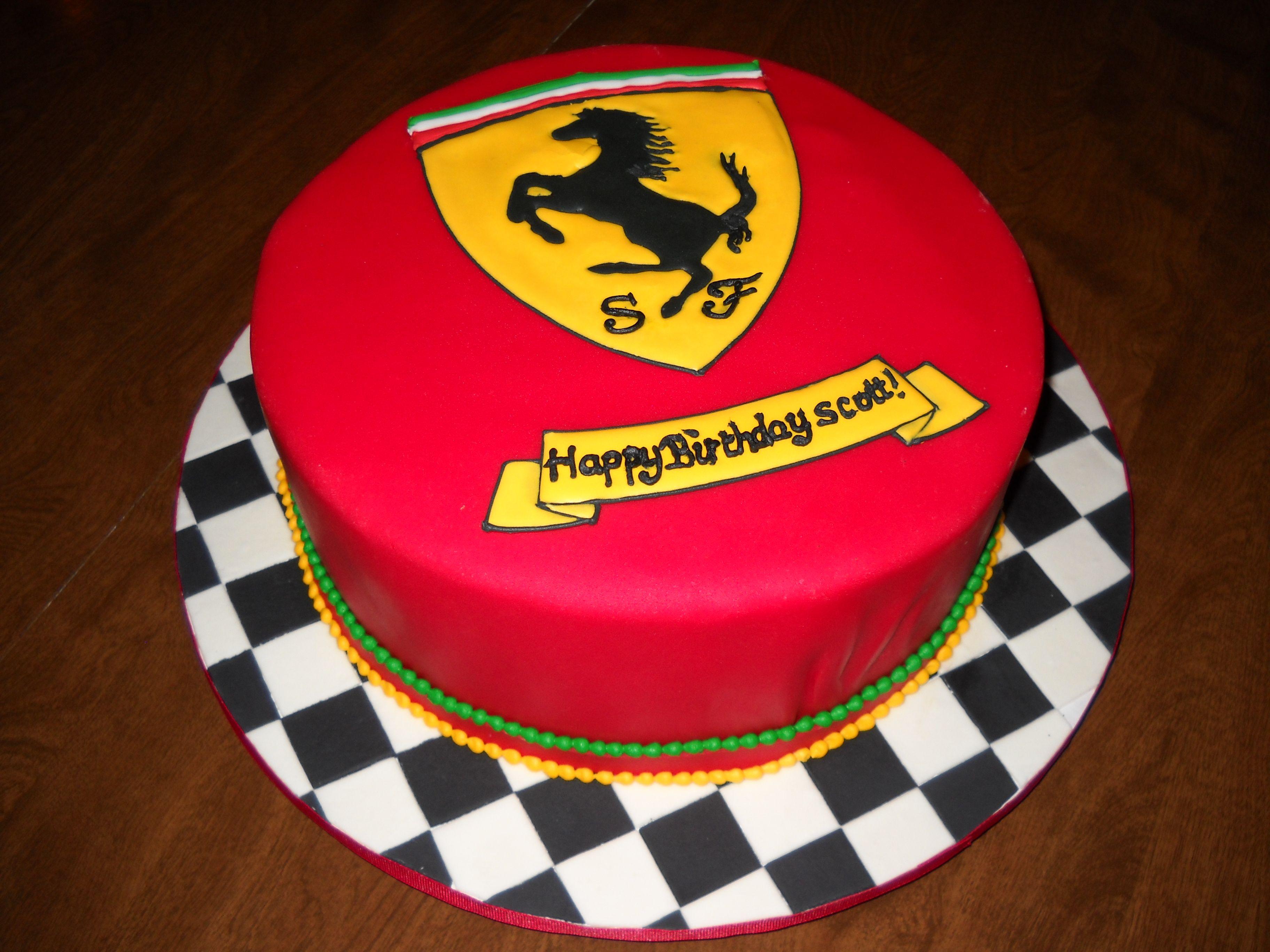 Ferrari Emblem Cake With Images Cake Decorating With Fondant