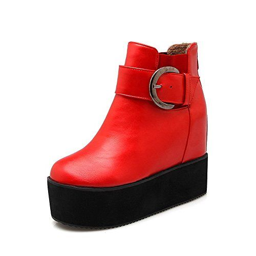 Women's Round Closed Toe Low Top High Heels Solid PU Boots Red 41