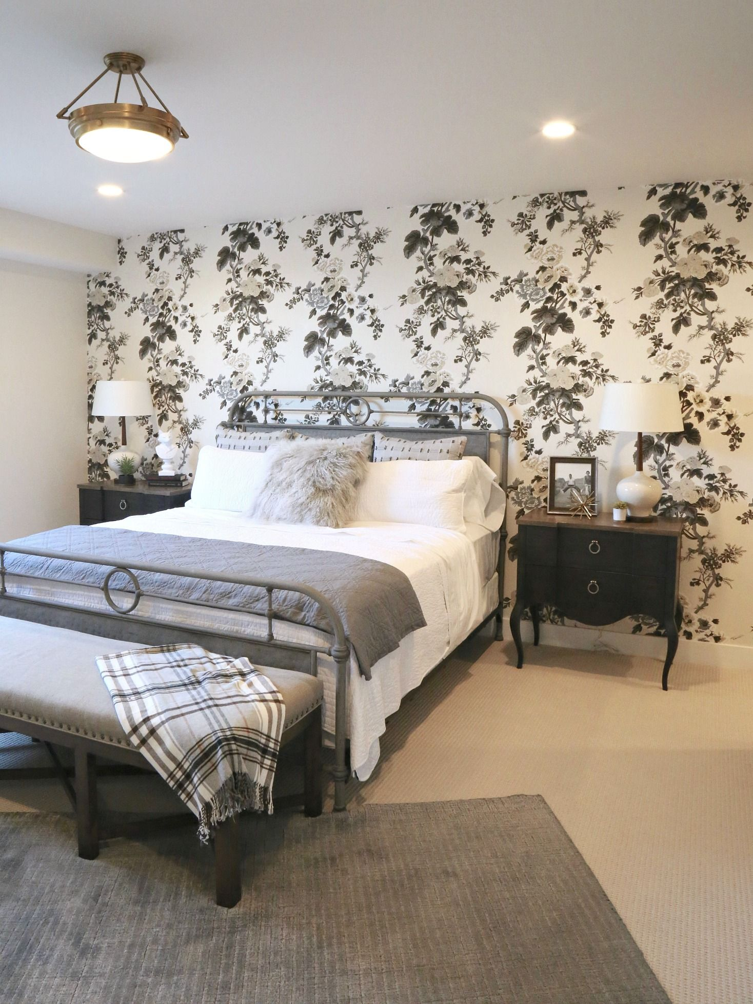 Black and white wallpaper accent wall