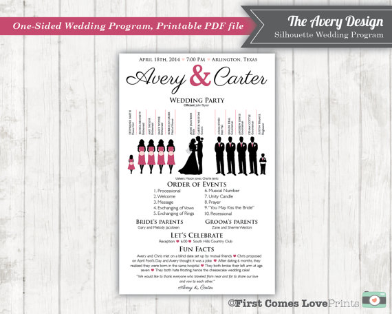 silhouette wedding program printable pdf the avery new