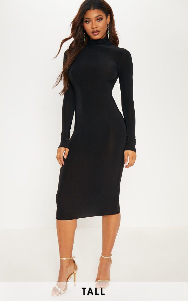 Tall Black High Neck Slinky Midi Dress Black Dresses Classy Turtle Neck Dress Black Turtleneck Dress [ 1180 x 740 Pixel ]