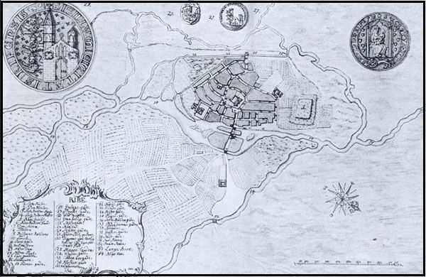 Kort Over Ribe 1755 Gamle Kort Illustration Fiskeri