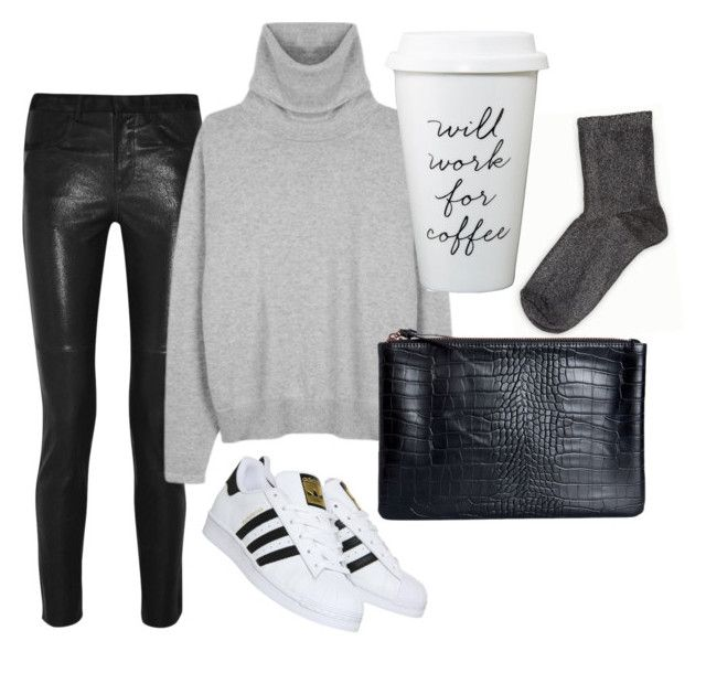 """""""Leather"""" by trendsy ❤ liked on Polyvore featuring Isabel Marant, SELECTED, Pieces and adidas"""