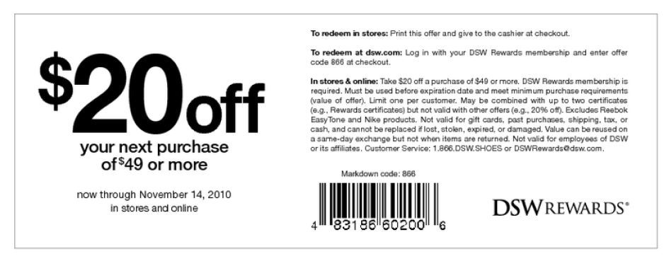 Dsw 20 Percent Off Coupon