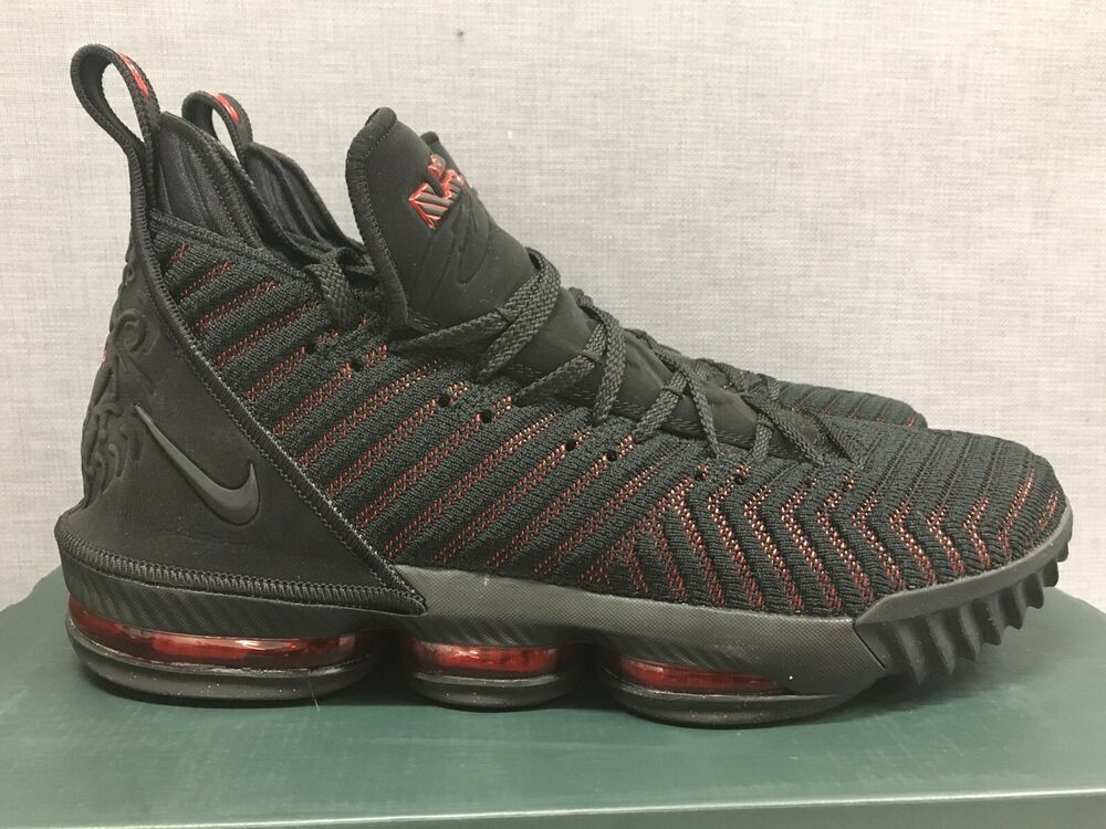 96def811bcf1 Nike LeBron 16 XVI Fresh Bred Black Red Basketball AO2588-002 Men s Size 12   shoes  kicks  fashion