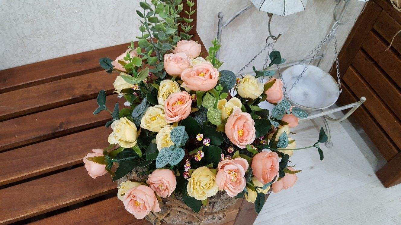 Artificial Small Roses Arrangement In Real Wood Box Artificial