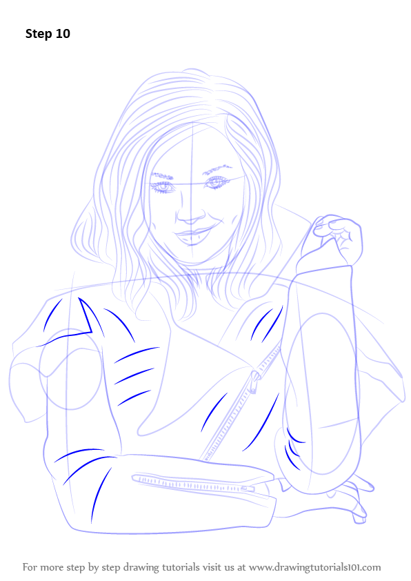 How to Draw Mal from Disney Descendants Cute step by step