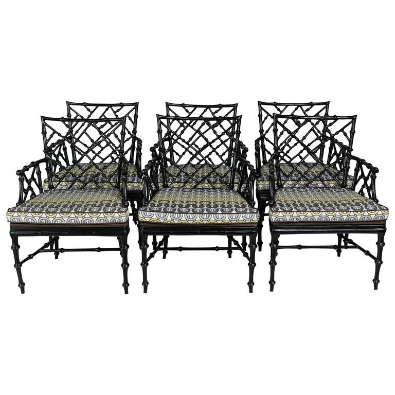 Faux Bamboo Metal Patio Chairs Set Of Six 1stdibs