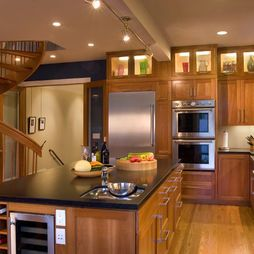 Love the cabinets with the lights on top