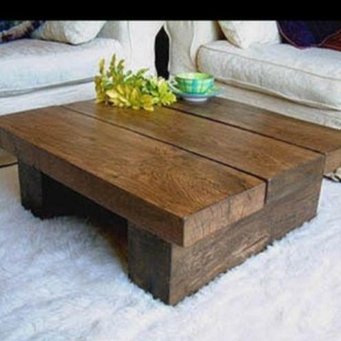 4ft X Wood Coffee Table Chunky Rustic Beam