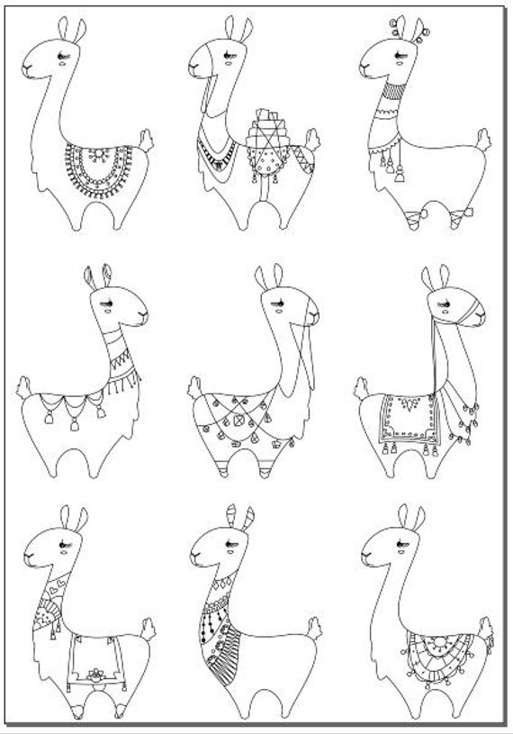 Voodoodles - Lots of Llamas coloring page | Colorea | Pinterest ...