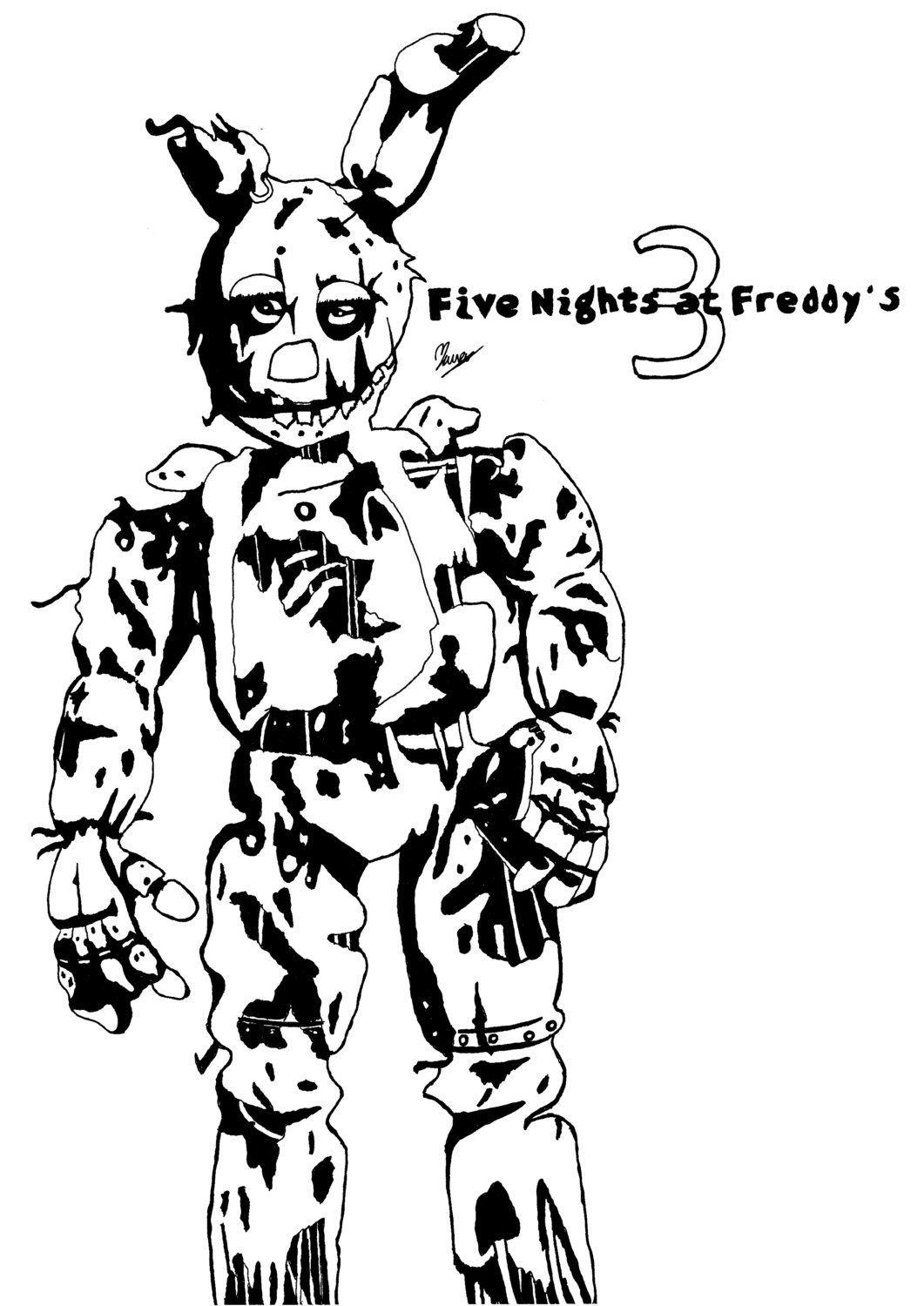 Spring Bonnie Coloring Pages in 2020 | Fnaf coloring pages ... | 1500x1061