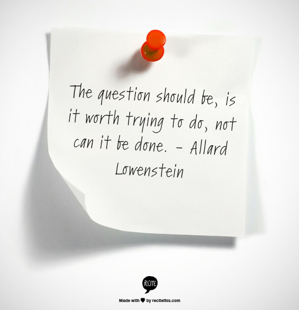 The question should be, is it worth trying to do, not can it be done. - Allard Lowenstein