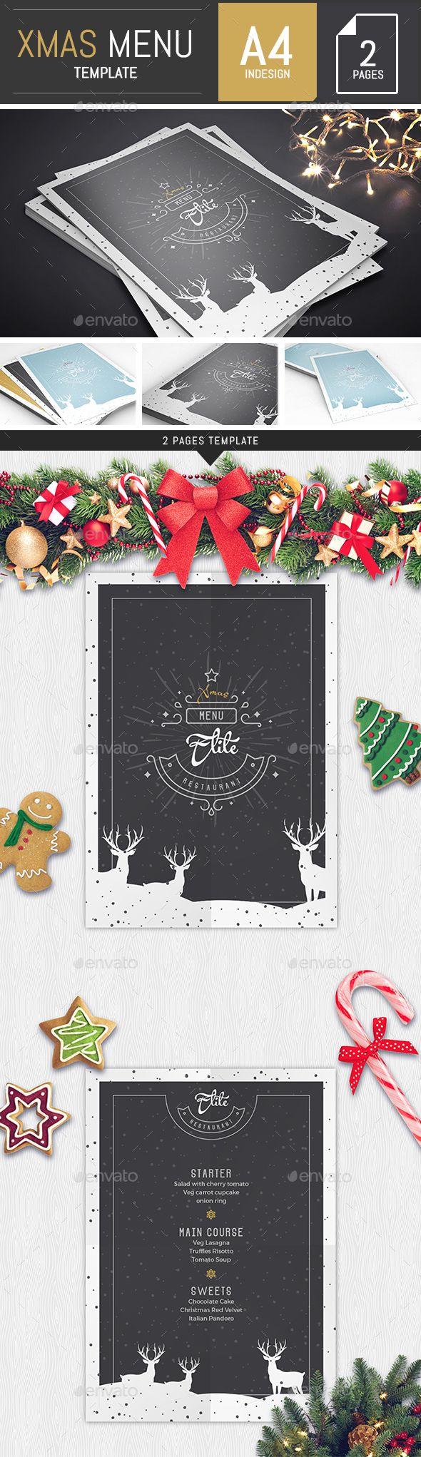 A4 Modern Christmas Menu Template | Logotipos, Navidad y Tarjetas