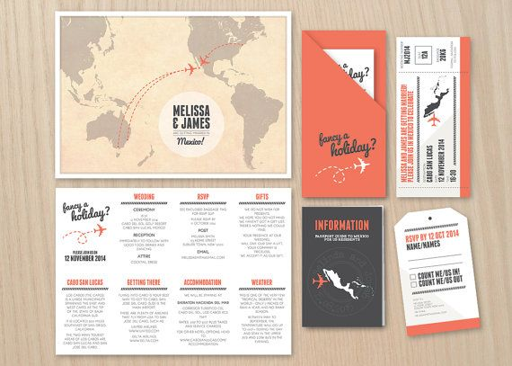 Travel DIY Printable Stationery Set Including Map Invitation, Boarding Pass,  Baggage Tag And Passport. Karten EinladungHochzeit ...