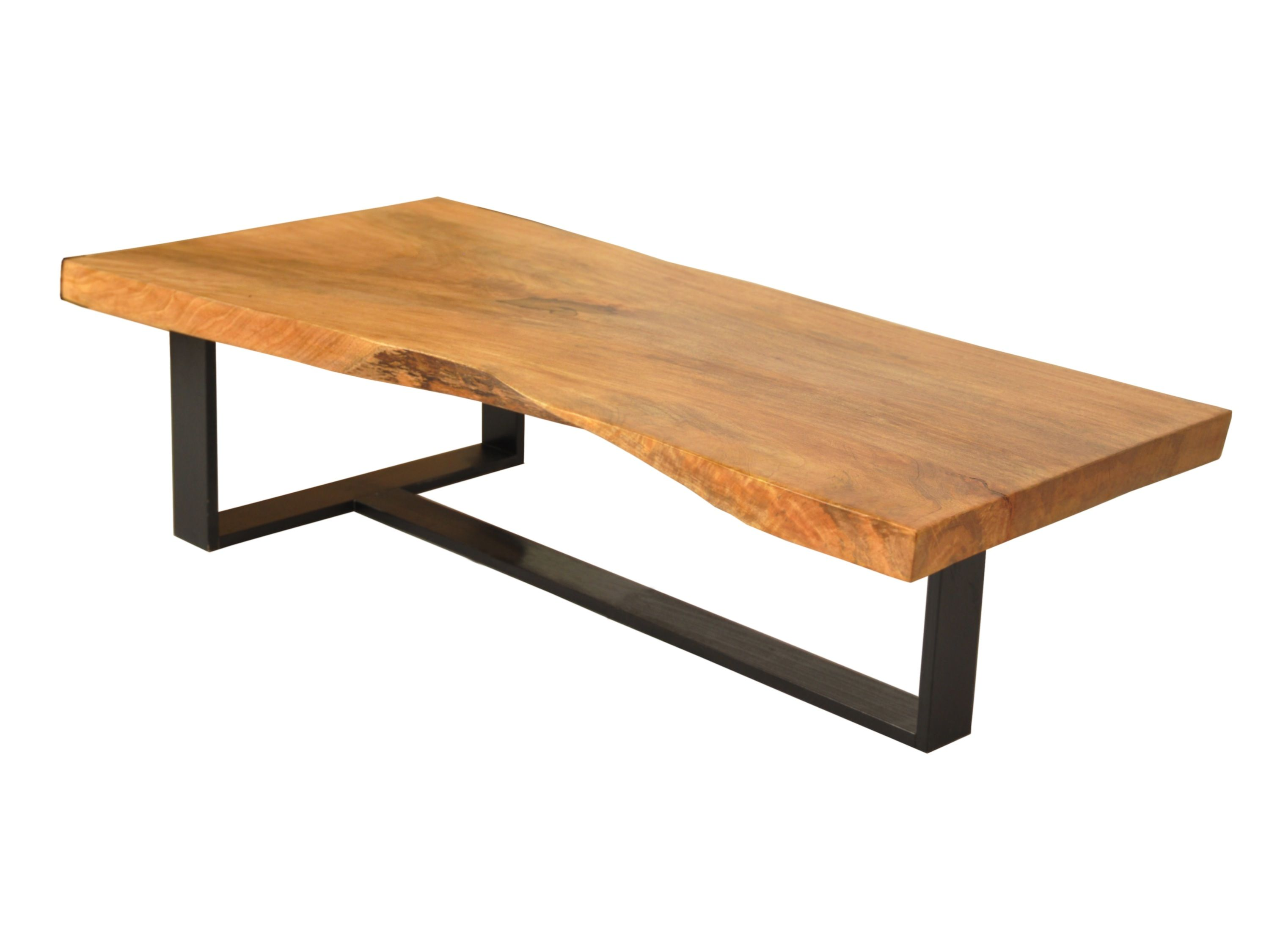 Single slab coffee table blackened metal base solid wood for Wood slab coffee table