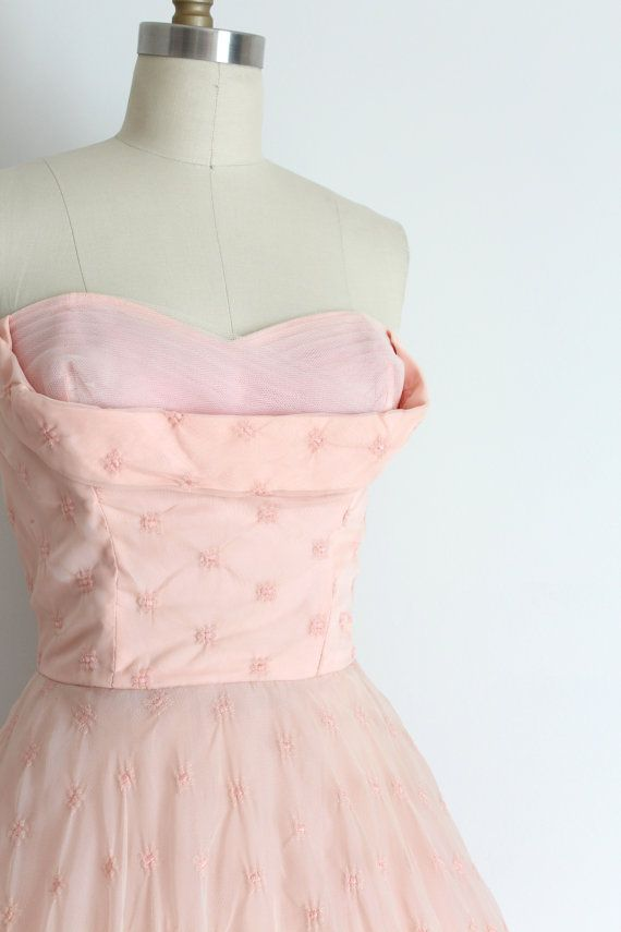 vintage 1950s dress // 50s pink lace evening by TrunkofDresses