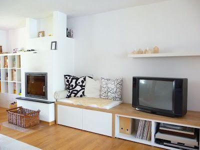 Sitzgelegenheit und Holzlagerung in einem! Eigentlich perfekt für - wohnwand mit kamin