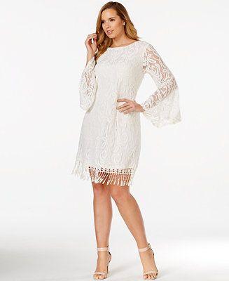 ING Plus Size Lace Fringe-Trim Dress | Boda civil, Bautizo y ...