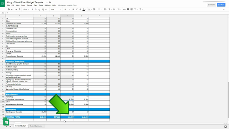 How To Use An Event Budget Template Google Sheets Version