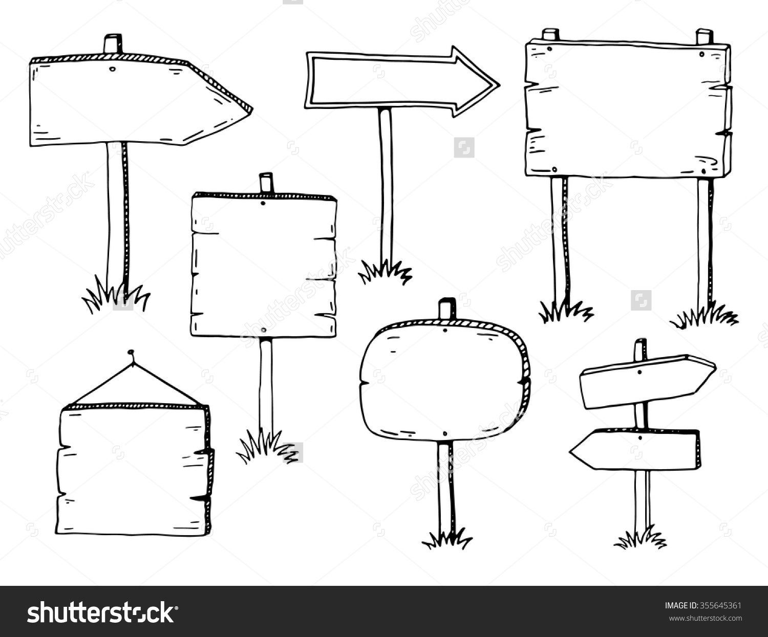 Hand Drawn Doodle Wood Signs And Arrows Set Stock Vector