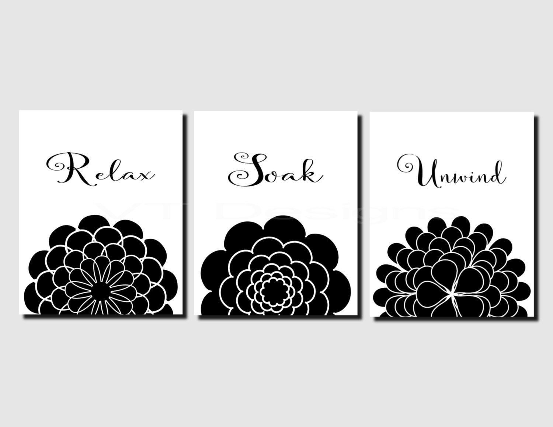 Bathroom wall art printables - Relax Soak Unwind Printable Bathroom Art Black White Floral Home Decor