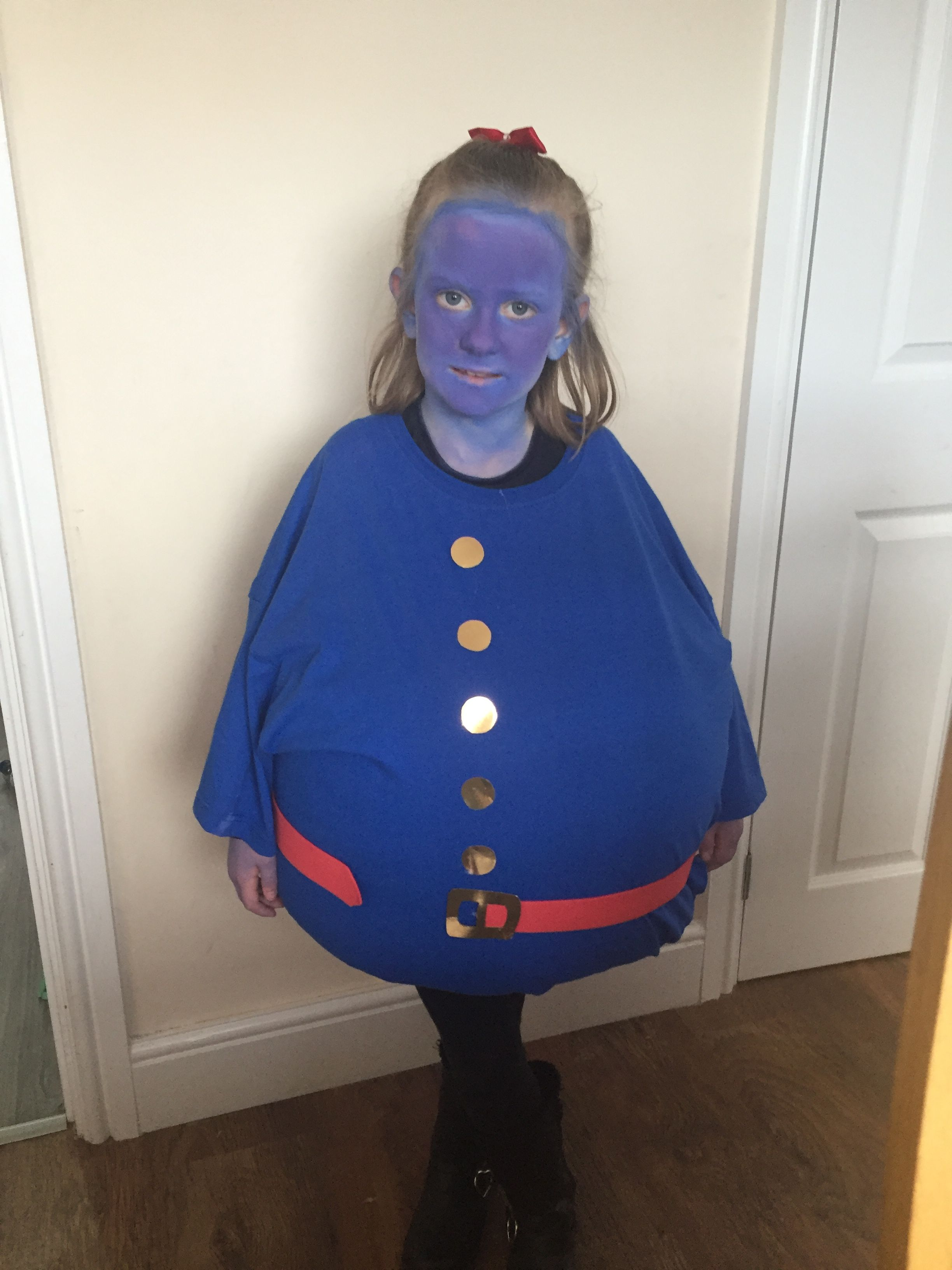 BLUEBERRY GIRL COSTUME BLUE T-SHIRT WIG AND FACE PAINT BOOK FANCY DRESS