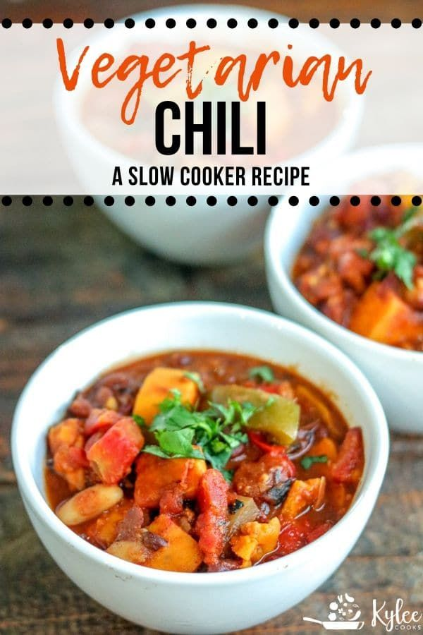 This simple vegetarian chili is perfect for cool weather, packed with peppers, onions, beans, tomatoes, and sweet potatoes - this is a great crockpot chili!