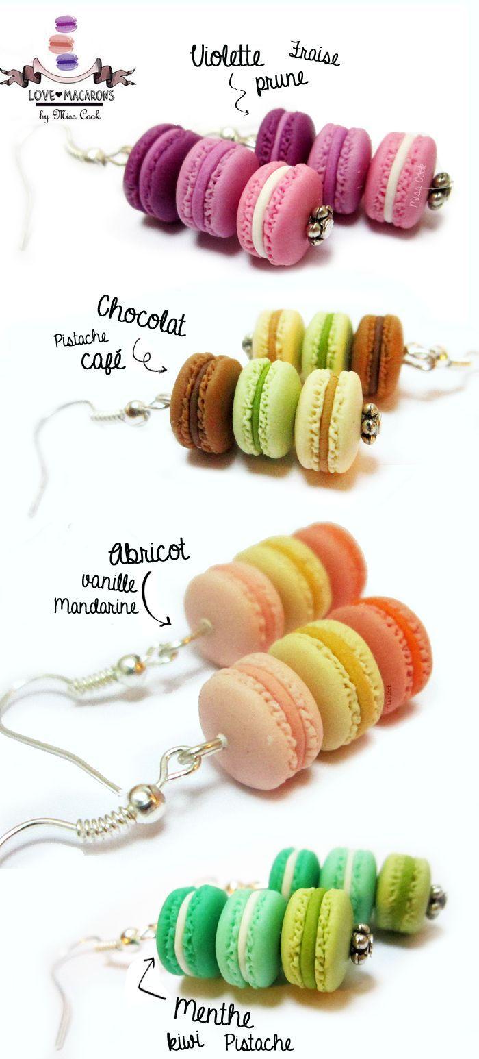 collier plus boucle d/'oreille macaron chocolat-1