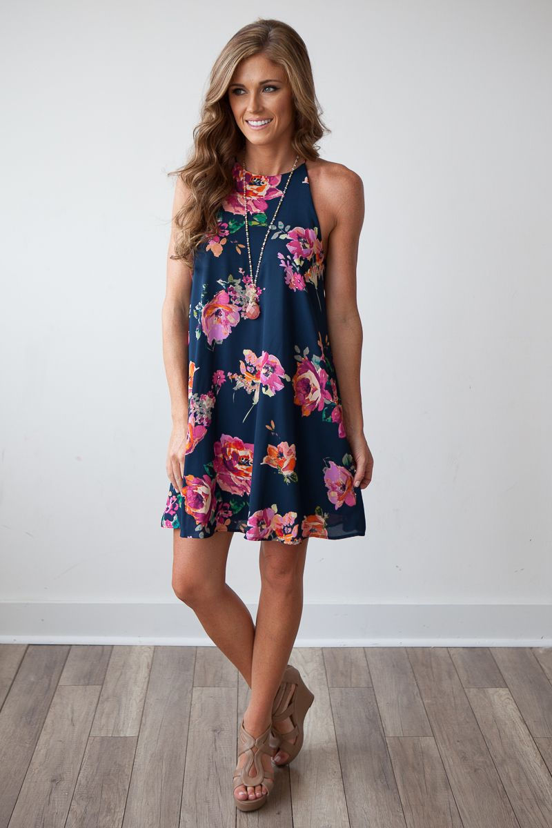 Bloom Where You Are Planted Navy and Floral Print Shift Dress ...