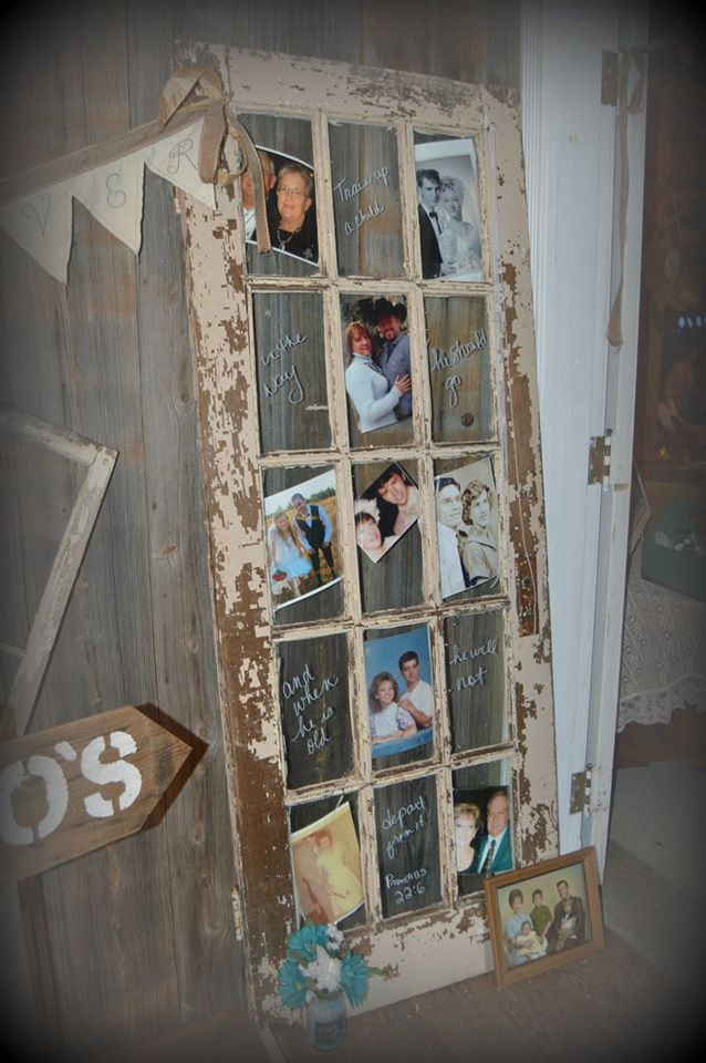 Our Vintage Door used as a frame for FAMILY - wedding decor ...
