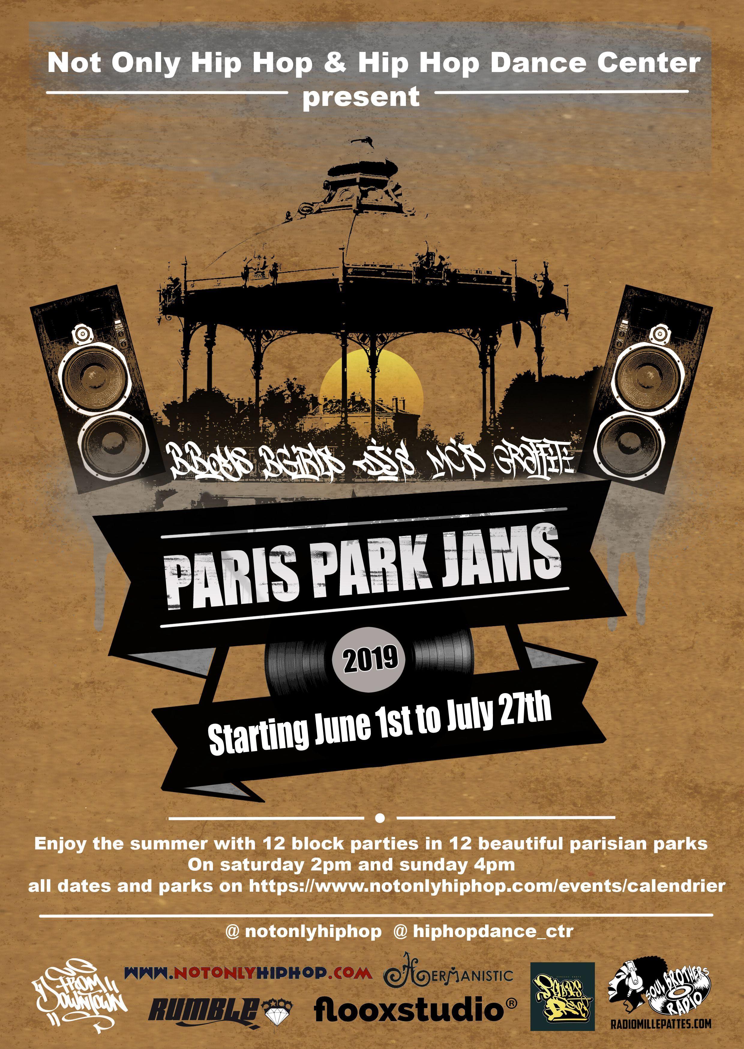 Paris Park Jams Flyer Flyer De L Evenement Paris Park Jams Qui A Eu Lieu Du 1er Juin Au 27 Juillet Dans Les Kiosques A Musique Parisie Hip Hop Flyer Paris
