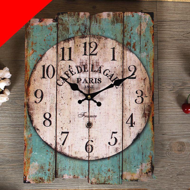 am ricain europ paris mode vintage horloge murale salon d coration laine carr m diterran enne. Black Bedroom Furniture Sets. Home Design Ideas