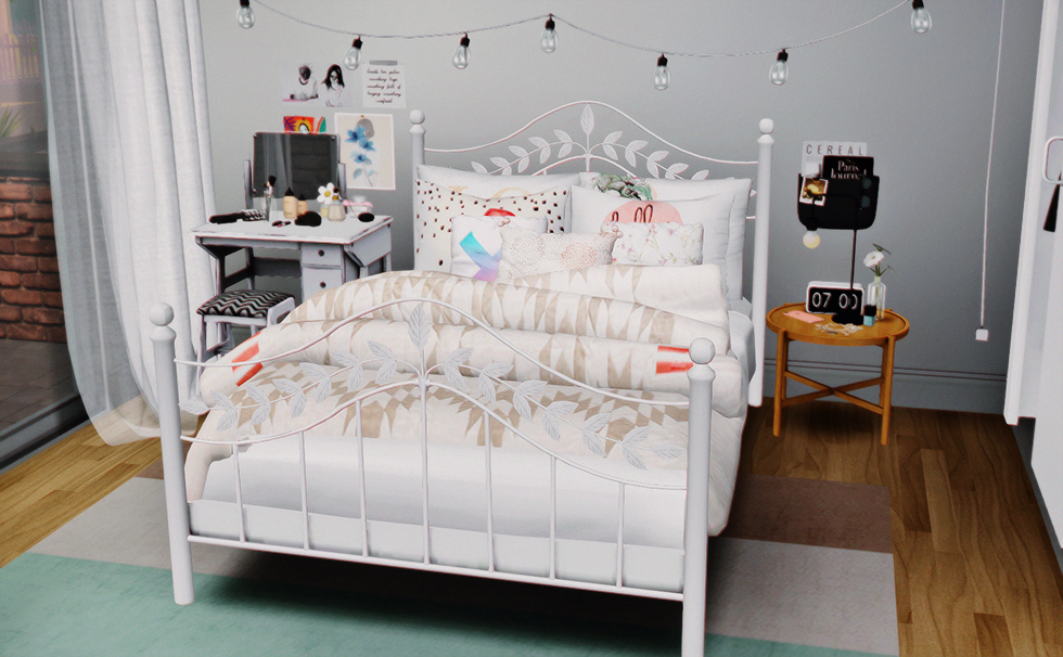 Ts4 CC finds — dreamteamsims Leaf Bed and Pillows (S2 to
