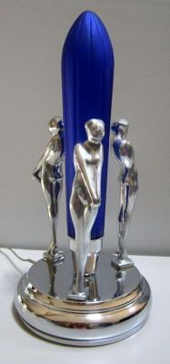 Frankart 3 Nymphs Erotic Art Deco Table Lamp - in a High Polished Aluminum