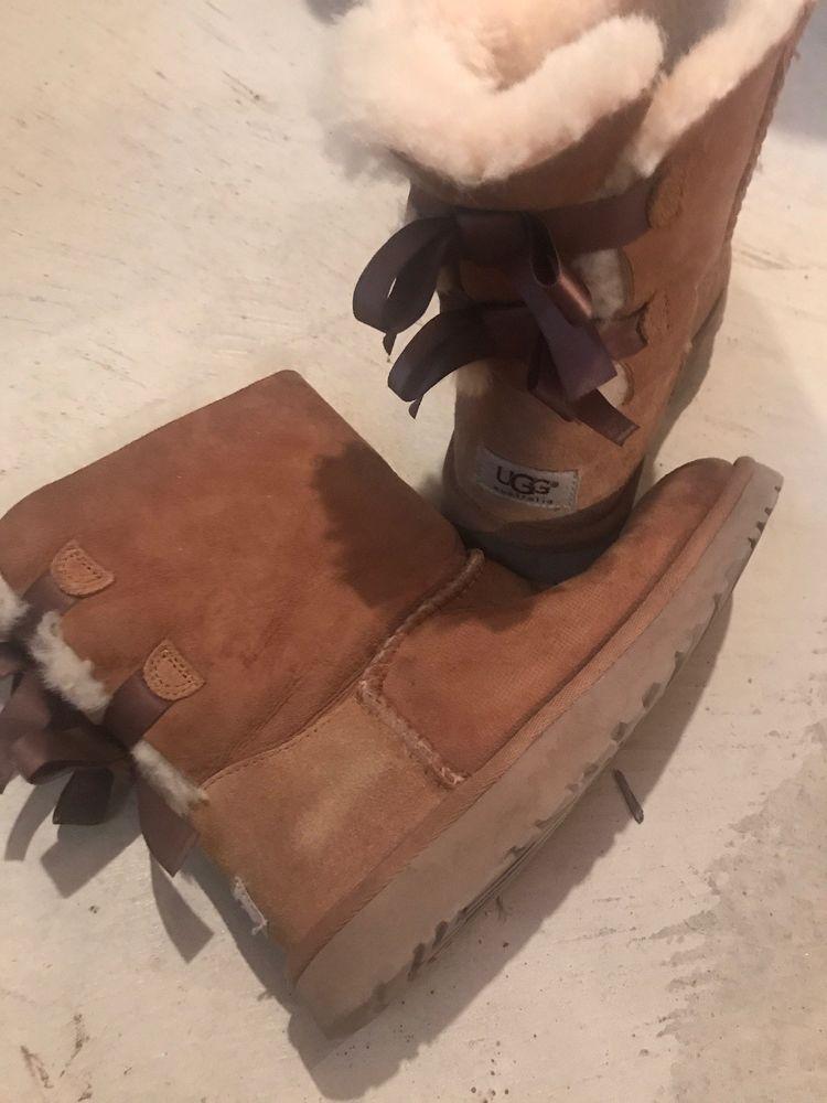 6bcf6cc0903 Kids UGG Australia Bailey Bow Boots Suede 3280Y Chestnut Big Kid 5 ...