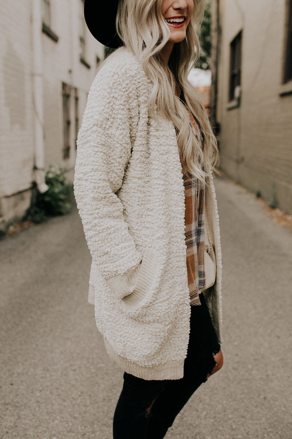 Texture Knit Cream Cardigan Long Sleeve   Dropped Shoulder Seam ...