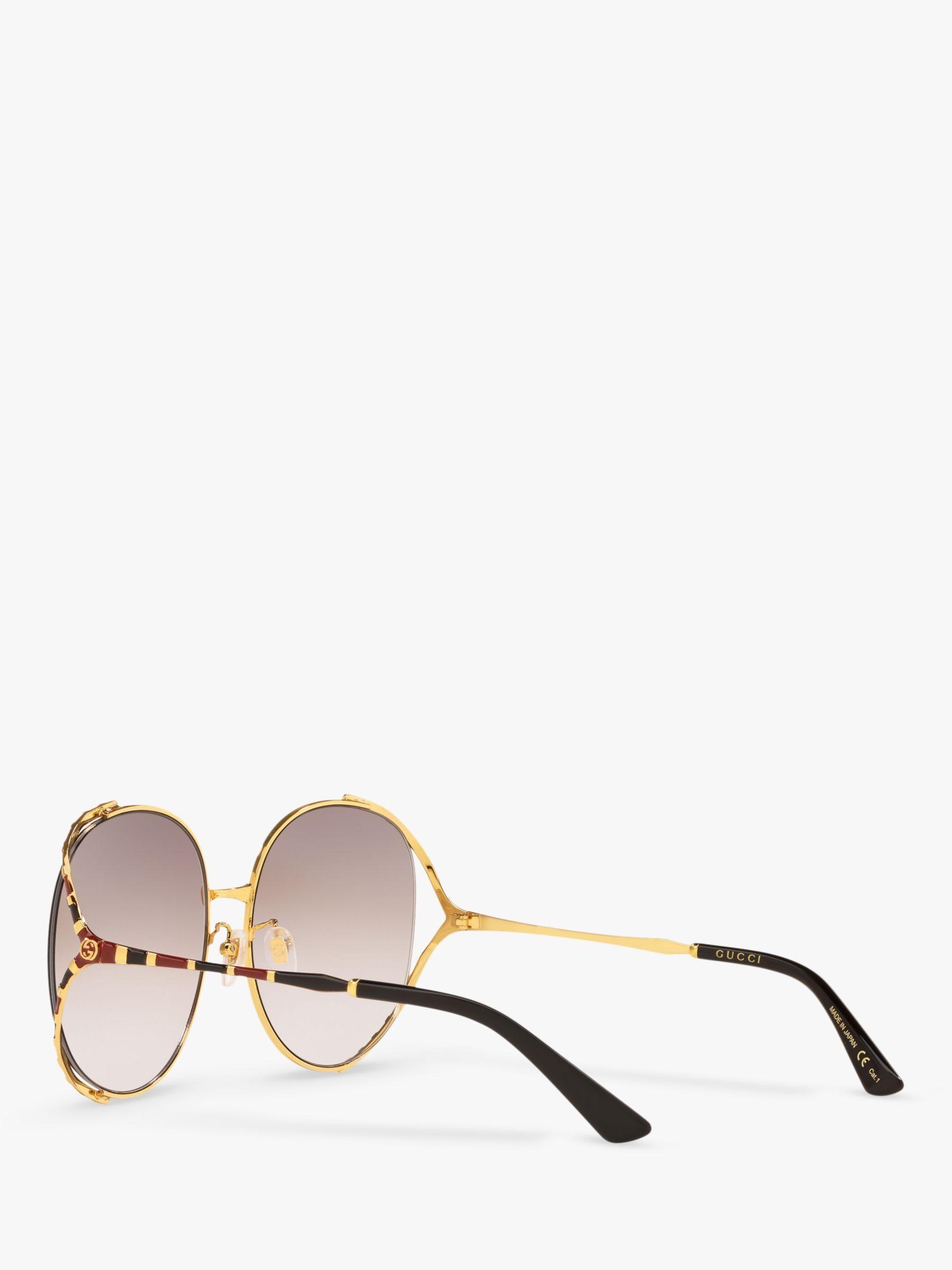 Gucci GG0595S Women's Oversized Oval Sunglasses, Gold/Beige Gradient