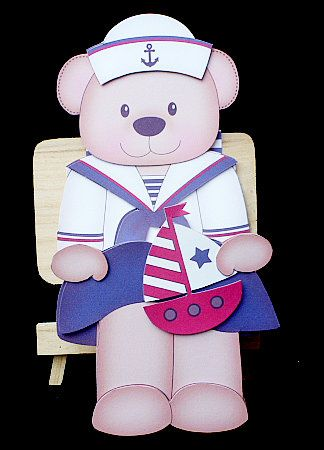 3D On the Shelf Card Kit Livvy Bear the Sailor on Craftsuprint designed by Carol Clarke - made by Diane Hitchcox - I printed out onto 250 gram card ,scored and folded were instructed ,attached main figure using strong dst and added decoupage with sticky pads. - Now available for download!