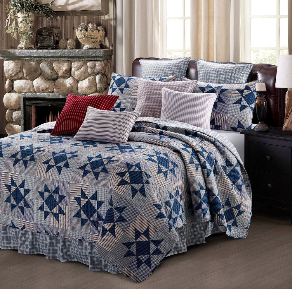 Details about carolina blue star 3pc king quilt set