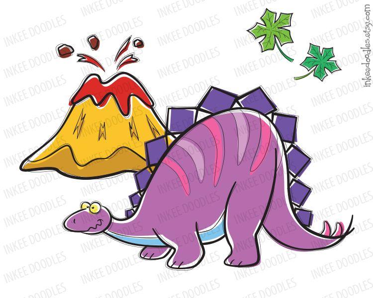 Dinosaur Birthday Teacher School Supply Kids Stegosaurus Volcano