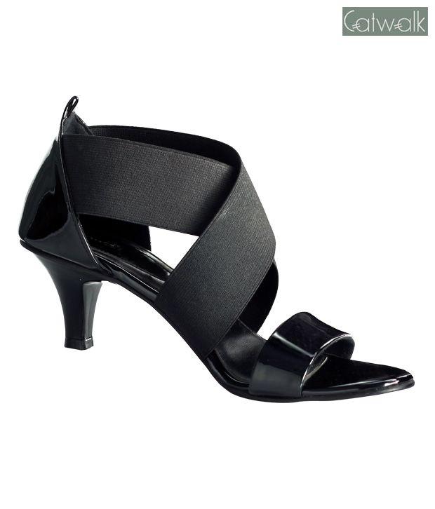 a5a294c9014 Catwalk Shiny Black Heel Sandals.