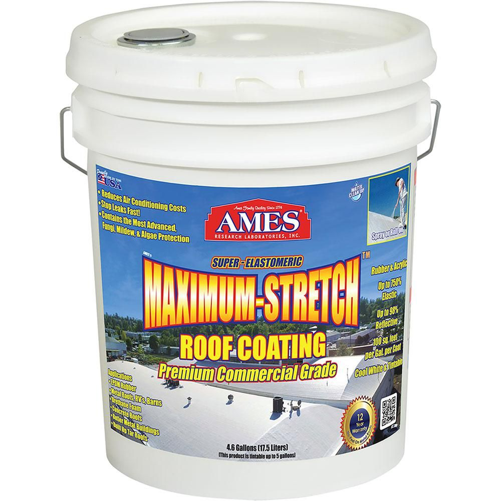 Ames 5 Gal White Maximum Stretch Rubber And Acrylic Reflective Roof Coating Mss5 The Home Depot In 2020 Elastomeric Roof Coating Roof Coating Flat Roof Sealant
