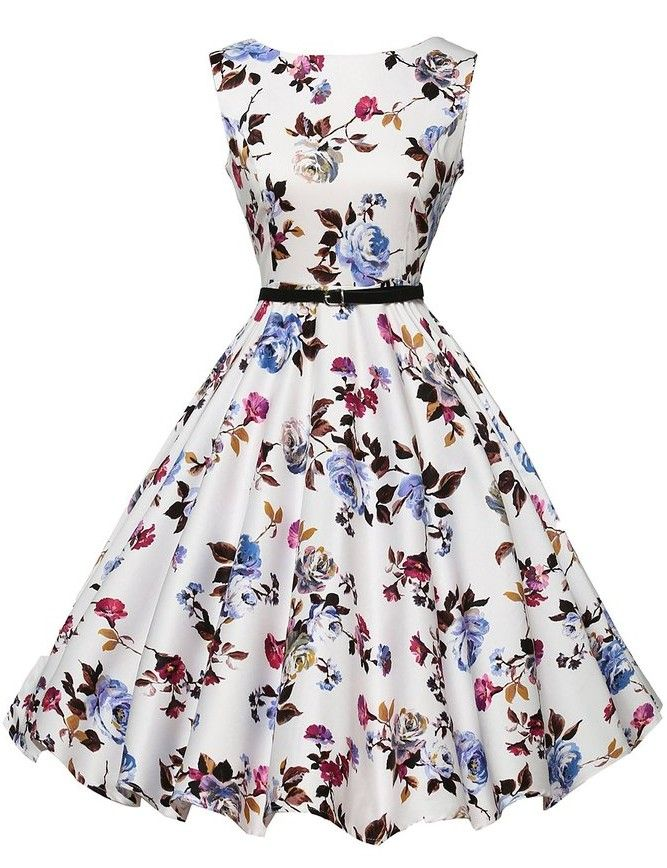 4df751c37f4f Women's Audrey Hepburn Retro Dress Vintage 50s 60s Elegant Floral Printed  Sleeveless Rockabilly Swing Dresses Vestidos-in Dresses from Women's  Clothing ...