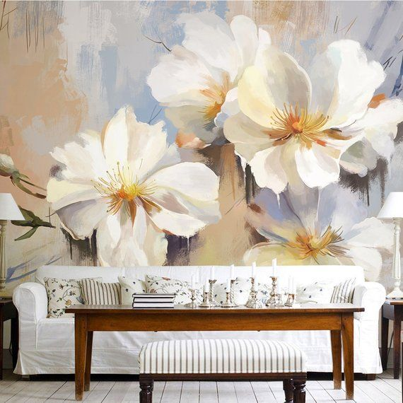 3d Floral White Lily Wallpaper Whiteflowers Wall Mural Etsy Lily Wallpaper Mural Wall Murals