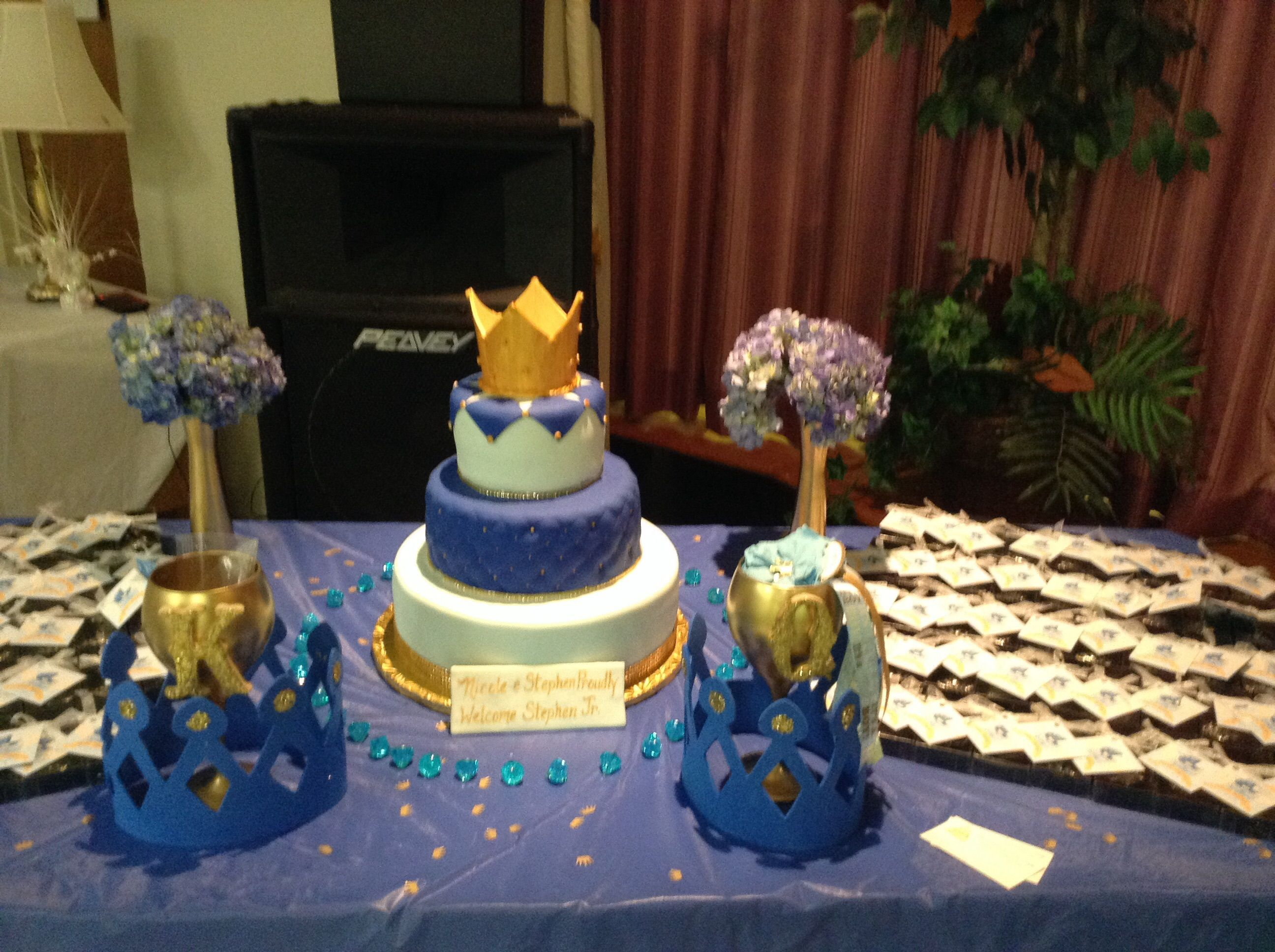 Gold King And Queen Cups, Blue Crowns, Prince Theme Babyshower