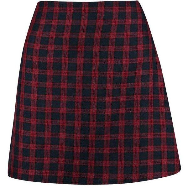 d0b623c54f Boohoo Luz Tonal Tartan Woven A Line Mini Skirt ($22) ❤ liked on Polyvore