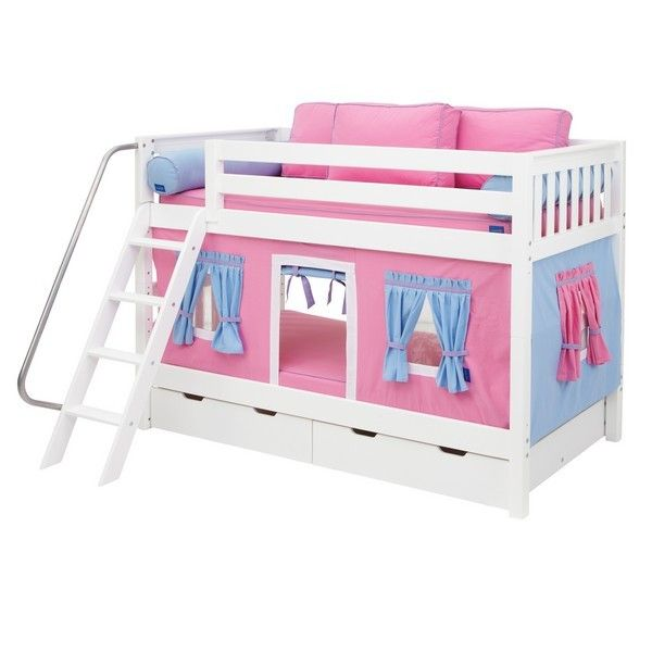 Turn An Ordinary Bunk Bed Into An Extra Ordinary Fun Playground By Just Adding Curtain And A Few Pillows Kids Love Te Kid Beds Bunk Bed Tent Bunk Bed Curtains